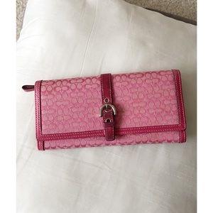 Pink Coach Signature mini C print wallet